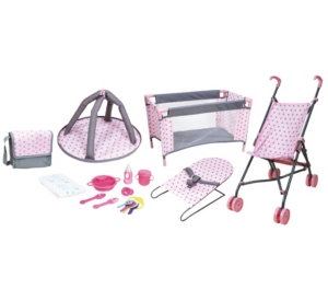 Lissi 5 Piece Baby Doll Deluxe Nursery Play Set With 8 Accessories