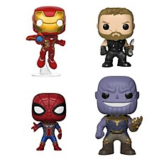 Pop Marvel Avengers Infinity War Collectors Set 1 Iron Man, Thor, Iron Spider And Thanos