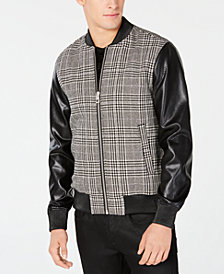 GUESS Men's Mixed-Media Plaid Bomber Jacket