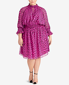 RACHEL Rachel Roy Trendy Plus Size Leopard-Print Dress
