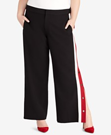 RACHEL Rachel Roy Plus Size Snap-Side Pants, Created for Macy's