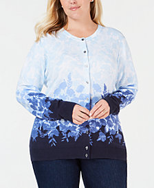 Karen Scott Plus Size Printed Button-Up Cardigan, Created for Macy's