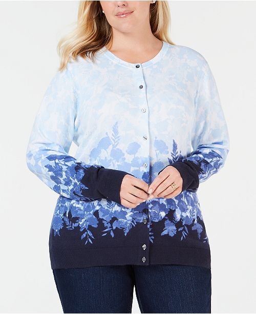 705d957a6652 ... Karen Scott Plus Size Printed Button-Up Cardigan, Created for Macy's ...