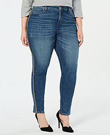 Style & Co Plus Size Metallic Side-Stripe Curvy Skinny Jeans, Created for Macy's