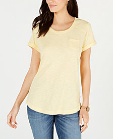 Style & Co Cuffed-Sleeve Cotton T-Shirt, Created for Macy's