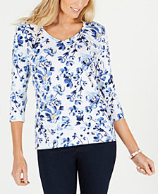 Karen Scott Floral-Print V-Neck T-Shirt, Created for Macy's