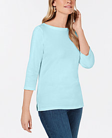 Karen Scott Cotton Crochet-Trim Top, Created for Macy's