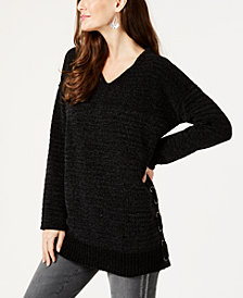 Style & Co Chenille Lace-Up Tunic Top, Created for Macy's