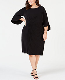 Connected Plus Size Ruffled Faux-Wrap Dress