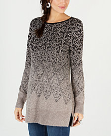 Style & Co Jacquard Ombré Tunic Sweater, Created for Macy's