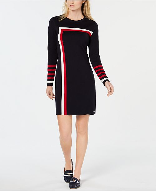 8b14c0bd56c ... Tommy Hilfiger Racing Stripe Sweater Dress, Created for Macy's ...