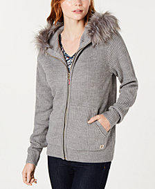 Tommy Hilfiger Faux-Fur Hooded Sweater, Created for Macy's
