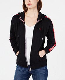 Tommy Hilfiger Logo-Sleeves Zip-Up Hoodie