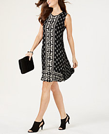 Style & Co Border-Trim Trapeze Dress, Created for Macy's
