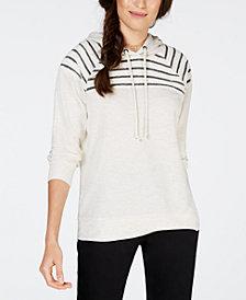 Style & Co Striped Yoke Hoodie, Created for Macy's