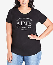 City Chic Trendy Plus Size Graphic-Print T-Shirt