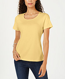 Karen Scott Short Sleeve Scoop Neck Top, Created for Macy's