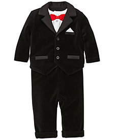 Little Me Baby Boys 3-Pc. Velour Tuxedo Jacket, Bow-Tie Bodysuit & Pants Set