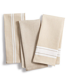 Martha Stewart Collection 3-Pc. Waffle Weave Kitchen Towels, Created for Macy's