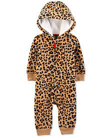 Carter's Baby Girls Cheetah-Print Hooded Fleece Coverall