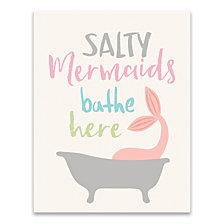 Salty Mermaids Bathe Here Printed Canvas