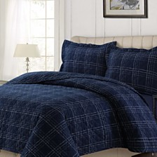 Oxford Plaid Cotton Flannel Printed Oversized King Quilt Set