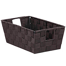 Home Basics Small Polyester Woven Strap Open Bin