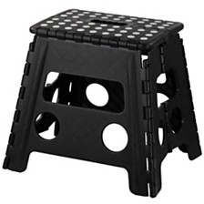 Home Basics Large Foldable Plastic Stool with Non-Slip Dots