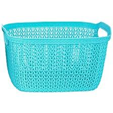 Home Basics Decorative Weave Plastic Basket