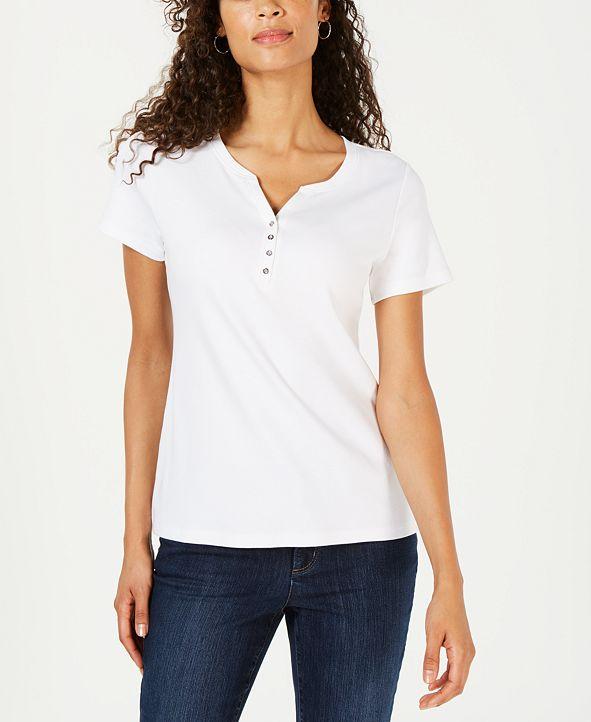 Karen Scott Short Sleeve Henley Top, Created for Macy's