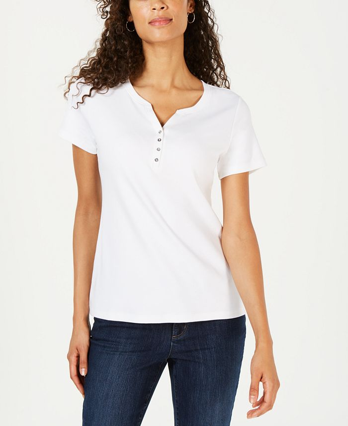 Karen Scott - Short Sleeve Henley Top, Created for Macy's