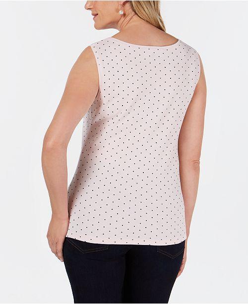 182c1ed75fa9c Karen Scott Petite Cotton Dot-Print Boat-Neck Top