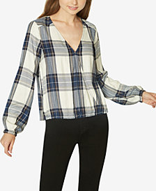Sanctuary Plaid Blouson Top