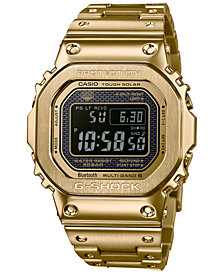 G-Shock Men's Solar Digital Gold-Tone Stainless Steel Bracelet Watch 43.2mm