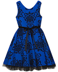 Rare Editions Big Girls Flocked Scuba Dress