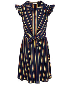 Monteau Big Girls Striped Tie-Front Dress