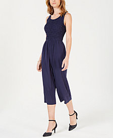 Maison Jules Polka-Dot Cropped Jumpsuit, Created for Macy's