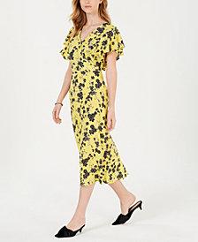 Maison Jules Printed Flutter-Sleeve Midi Dress, Created for Macy's