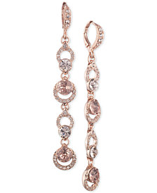 Givenchy Rose Gold-Tone Crystal Linear Drop Earrings