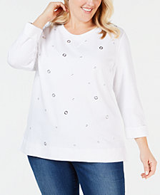 Karen Scott Plus Size Grommeted Top, Created for Macy's