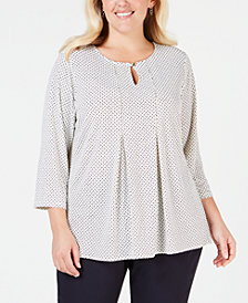 Charter Club Plus Size Printed Keyhole Top, Created for Macy's