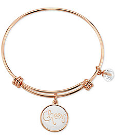 Unwritten Cheers Charm Bangle Bracelet in Rose Gold-Tone Stainless Steel