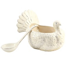 Certified International Autumn Fields 3-D Turkey Gravy Boat w/Ladle