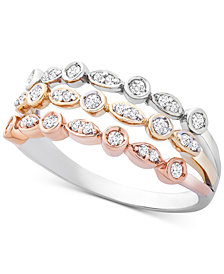 Wrapped™ Diamond Tricolor Triple Band Ring (1/4 ct. t.w.) in 14k Gold, White & Rose Gold, Created for Macy's