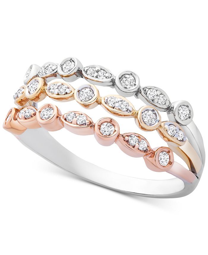 Wrapped - Diamond Tricolor Triple Band Ring (1/4 ct. t.w.) in 14k Gold, White & Rose Gold