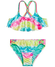 Breaking Waves Big Girls 2-Pc. Printed Flounce Bikini
