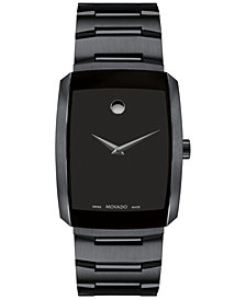 Movado Men's Swiss Eliro Black PVD Stainless Steel Bracelet Watch 40mm