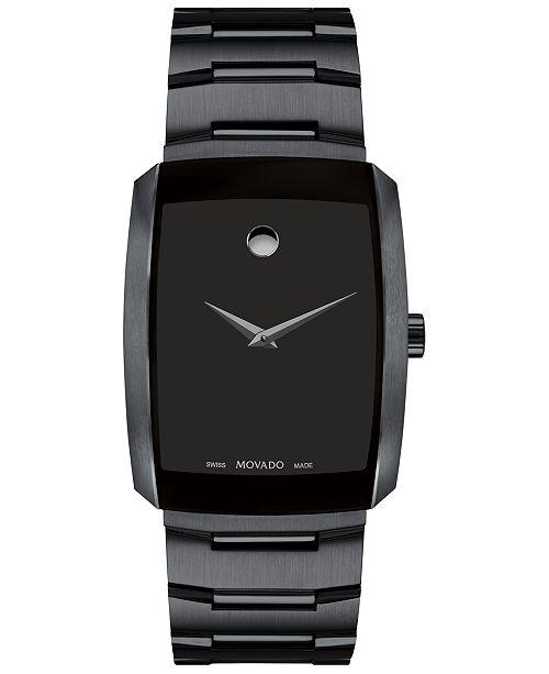 Movado Men's Swiss Eliro Black PVD Stainless Steel Bracelet Watch 40mm