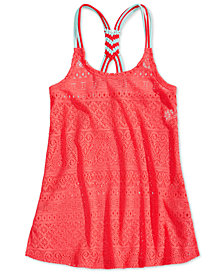 Summer Crush Big Girls Macrame-Back Swim Cover-Up