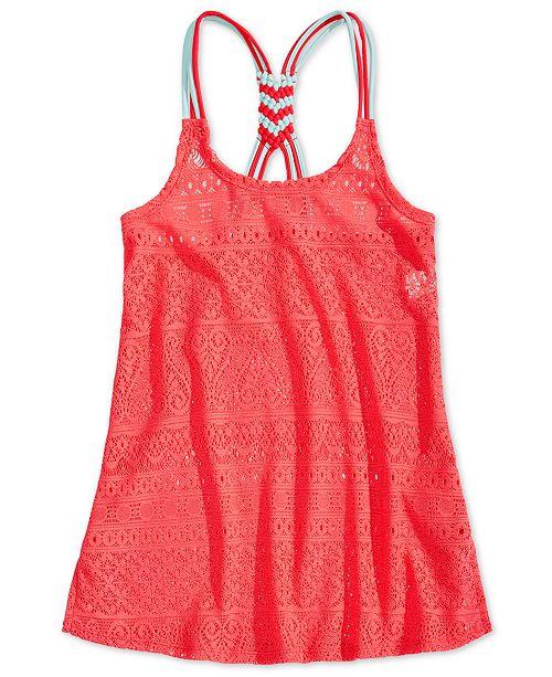 Summer Crush Big Girls Macrame-Back Swim Cover-Up
